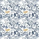 Run icons seamless pattern set in doodle style, hand drawing Royalty Free Stock Image