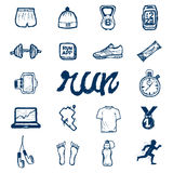 Run icons set in doodle style Royalty Free Stock Photography