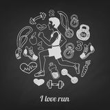 Run icons set on Stock Image