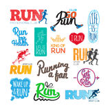 Run Icons Set. Inscriptions and Pictures of Runer. Set of run icons. Inscriptions and pictures of running. Run for health. Life is run. Running a fun. Run Stock Photo