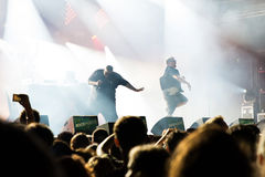 Run the Jewels (hip hop band) in concert at Rock En Seine Festival. PARIS - AUG 31: Run the Jewels (hip hop band) in concert at Rock En Seine Festival on August Royalty Free Stock Image