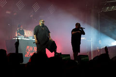 Run the Jewels hip hop band in concert at Rock En Seine Festival. PARIS - AUG 31: Run the Jewels hip hop band in concert at Rock En Seine Festival on August 31 Stock Photography