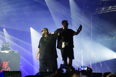 Run the Jewels hip hop band in concert at Rock En Seine Festival. PARIS - AUG 31: Run the Jewels hip hop band in concert at Rock En Seine Festival on August 31 Stock Image