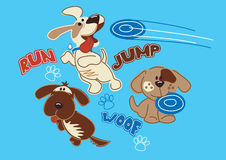 Run jump woof puppy's. Vector illustration of 3 dogs playing Frisbee Stock Image