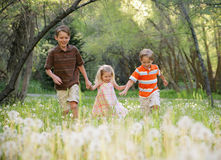 Run Kids. Three young children holding hands smiling and running through a dandelion patch in spring Stock Photos