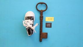 Run is life idea or Healthy lifestyle and sport concepts. Run is life concept, art style, key and tag stock footage
