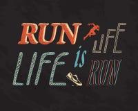 Run is life. Life is run. Flat illustration with phrase: Run is life. Life is run Stock Image