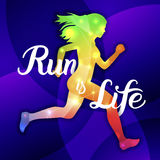 Run is Life. Sport motivation lettering poster Royalty Free Stock Image
