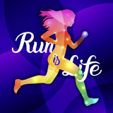 Run is Life. Sport motivation lettering poster Royalty Free Stock Photo