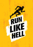 Run Like Hell Creative Sport Motivation Concept. Dynamic Running Man Vector Illustration On Grunge Background Stock Photo