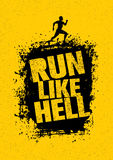 Run Like Hell Motivation Sport Banner. Creative Marathon Vector Design On Grunge Distressed Background.  royalty free illustration