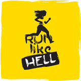Run like hell. running woman Stock Image