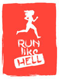 Run like hell. running woman. Run Like Hell. Sport motivation lettering poster. Creative marathon vector design with running woman on yellow grunge background Stock Image
