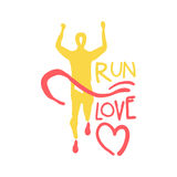 Run love logo symbol. Colorful hand drawn illustration. For sport poster, emblem, sign of the race supporters, fan clubs Stock Photos