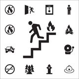 Run man in the stairs exit icon. Detailed set of fire guard icons. Premium quality graphic design sign. One of the collection icon. S for websites, web design Royalty Free Stock Photo