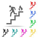 Run man in the stairs exit icon. Element firefighters multi colored icons for mobile concept and web apps. Icon for website design. And development, app Royalty Free Stock Photos