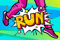 Run Message in pop art style. Run Message in retro pop art style. The feet of a woman are running. Vector illustration Stock Photo