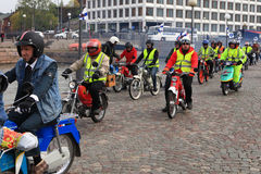 Run of mopeds on streets of Helsinki ,may 16 2014 Royalty Free Stock Photos