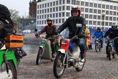 Run of mopeds on streets of Helsinki ,may 16 2014 Stock Photo