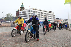 Run of mopeds on streets of Helsinki ,may 16 2014 Royalty Free Stock Image