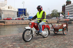 Run of mopeds on streets of Helsinki ,may 16 2014 Stock Image