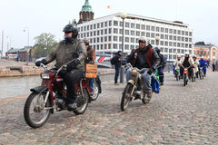Run of mopeds on streets of Helsinki ,may 16 2014 Royalty Free Stock Images