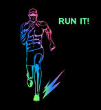 Run It Motivational Poster. Running Man Silhouette Royalty Free Stock Images