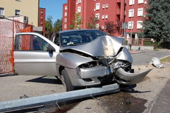 Run-off-road collision in urban area Royalty Free Stock Photography