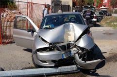 Run-off-road collision in urban area Stock Photos