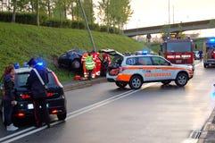 Run-off-road collision in urban area Royalty Free Stock Photo