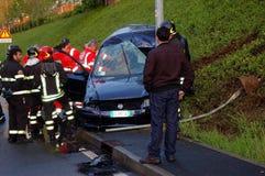 Run-off-road collision in urban area Stock Image