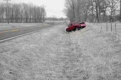 Run Off Road Truck Crash Royalty Free Stock Photos