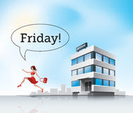Run from office. Beautiful woman employee in red dress running from office on friday Royalty Free Stock Photos