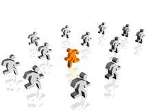 Run in opposite direction. An individualist run in opposite direction of others Stock Images