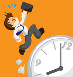 Run out of time. Cartoon of running office worker on clock Royalty Free Stock Photo