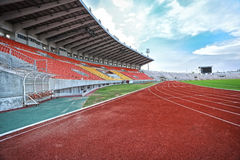 Run race track in sport stadium. With out people Stock Images