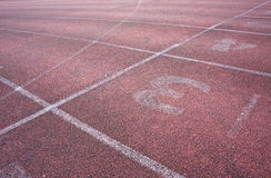 Run race track and white line stock photos