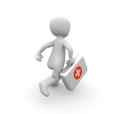 Run red with white Aid Case. A doctor runs his medical case very quickly to his patients. It's about life and death Stock Images