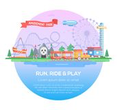 Run, ride and play - modern vector illustration Stock Photos