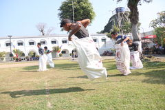 RUN SACKS. Inmates with a sack race to celebrate the independence of the Republic of Indonesia, to 70 years in prison Ambara, Semarang regency, Central Java Royalty Free Stock Images