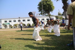 RUN SACKS. Inmates with a sack race to celebrate the independence of the Republic of Indonesia, to 70 years in prison Ambara, Semarang regency, Central Java Stock Images