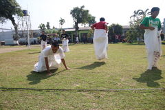 RUN SACKS. Inmates with a sack race to celebrate the independence of the Republic of Indonesia, to 70 years in prison Ambara, Semarang regency, Central Java Stock Image