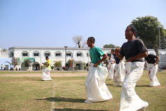 RUN SACKS. Inmates with a sack race to celebrate the independence of the Republic of Indonesia, to 70 years in prison Ambara, Semarang regency, Central Java Royalty Free Stock Photo