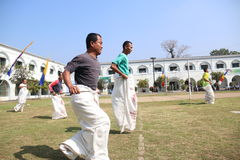 RUN SACKS. Inmates with a sack race to celebrate the independence of the Republic of Indonesia, to 70 years in prison Ambara, Semarang regency, Central Java Royalty Free Stock Image
