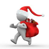 Run santa. 3d santa claus run with a sack with gifts stock illustration