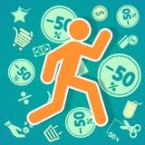 Run shopping 50%. Is vector run shopping 50 Royalty Free Stock Image