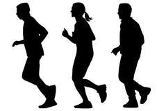 Run silhouettes on white background Stock Photos