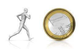 Run for succes. Running man for euro coin Stock Photos