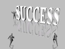 The run for  success. Run for success,  businessmen competing, finding obstacles, disappointments, on the career run. Person in the background with victory Royalty Free Stock Photo