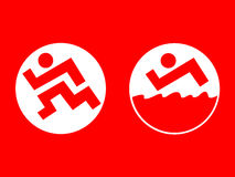 Run and swimming. Sport icon set, run and swimming Stock Photos